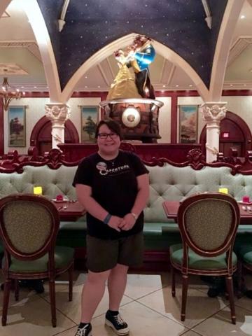 Enjoying dinner in the Beast's Rose Room